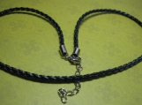 "Black Leather Braided Necklace Cord (17""-20"")"