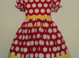 Handmade Disney Minnie Dots Dress Deluxe Custom Size 12M-14Yrs