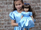 NEW Handmade Elegant Peter Pan Wendy Satin Costume 2PC Dress Set