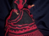 Barbie, Doll, Crochet, Dress, Umbrella, Black, Collectors, Red, Outfit, Hat, Annies, Bed Doll Society, Victorian