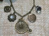 Bicycle charm necklace,vintage bicycle,trike pendant,antique brass bicycle,bicycle pendant,vintage big wheel bike,bike,bike jewelry