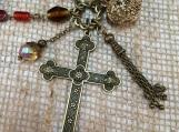 Bohemian,beaded,multi-strand,necklace,heart pendant,cross pendant,charm necklace,long necklace,antique gold,boho jewelry,