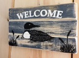 "Common Loon Welcome Sign.  12"" x 6.75.  Hand painted."