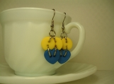 Blue heart yellow moon funky dangling button earrrings