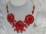 Necklace, Hearts, Souttache, Coral, Biwa Pearls, Red Turquoise