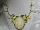 Necklace, Soutache, Pearls, Cameo, Green Yellow Off White   Pendant