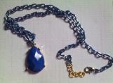 Blue Faceted Teardrop Necklace