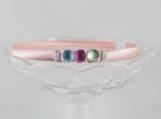 Pink asymmetrical head band green blue pink buttons pink ribbon