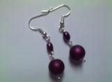 Purple Silk Double Beaded Earrings