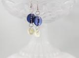 Vintage royal blue cream cross hatch dangling button earrings
