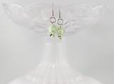 Vintage swirl mint green button chocolate vanilla bead earrings