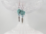 Vintage teal turquoise metal feather flower button earrings