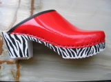 red patent and zebra clogs