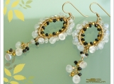Romantic Earrings -Black Diamond Garnet, Moonstone and Gold Filled.