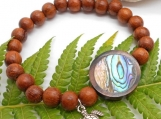 Abalone and Bayong Wood Bracelet with Little Turtle
