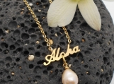 Aloha and Pink Pearl Necklace