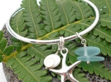 Beach and Starfish Inspired Sterling Silver Cuff Bracelet