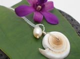 Beach Jewelry, Puka Shell and Pearl Necklace