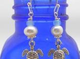 Hawaiian Honu, Turtle, and Pearl Earrings