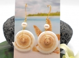 Large Puka Shell and Pearl GOLD Drop Earrings