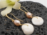 Shell Earrings, Puka Shell and Pink Pearl Drop Earrings
