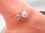 Starfish Ankle Bracelet with Shiva Shell
