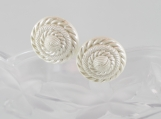 Vintage large white pinwheel stud button earrings Christmas