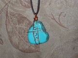 Aqua agate stone pendant with copper wire