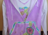 JanSuz Original Hand-painted Watercolor Bright Flower zip up Hooded Sweatshirt (Jacket only)