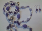 Pearl and Purple Beaded Necklace Set