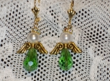 Angel earrings green crystals and gold wings