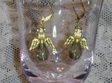 Angel earrings, smoke teardrop, gold leverbacks, gold wings