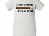 """Diaper Loading"" White Creeper Baby Onesie"
