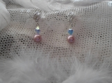 Pink pearl & clear AB bicone earrings with CZ decorative stud