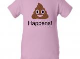 """""""Poo Emoji Happens"""" Pink Creeper Baby Onesie"""