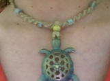 Boho Hippie Style Hemp Necklace With a Sea Turtle pendant