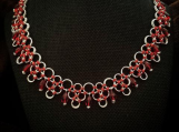 Chainmaille Designer Necklace Sparkling Red