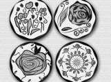 Coasters, black and white, contemporary, minimalist, personalize