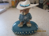 Cowboy Bear Figurine on Hand Painted Small Stone