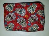 Large Cosmetics bag, water resistant, makeup bag, zippered bag, toiletries bag, red sugar skulls