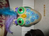 Owl-Ceramic-Hand Painted-Feathers-Planter/Pen-Pencil Holder