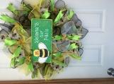 Summer backyard patio bumblebee wreath