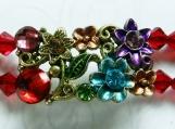 2 Row Bracelet, Swarovski Red Crystals, Pink Freshwater Pearls
