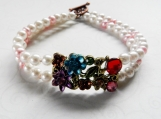 Bracelet, 2 Rows, Pink Freshwater Pearls, Faux Pearls,Floral
