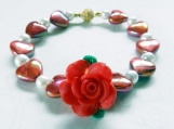 Bracelet, Acrylic Heart Beads, White Faux Pearls, Polymer Rose