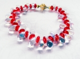 Dagger Stone Red & White Stone Bracelet, Illuminescent Beaded