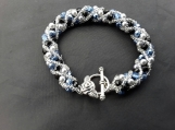 Hand beaded blue jet and crystal bracelet 100% glass beads