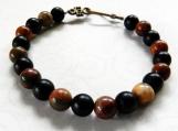 Marbled Brown Jasper Stone Beaded Bracelet, Unisex, Black Beads