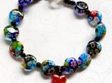 Murano Glass Bracelet, Dangling Heart Charm, Mothers Day Gift