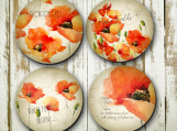 Poppy Flower Coaster, Red, Housewarming, Gift,